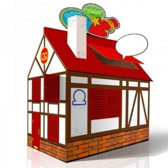 Картонный домик со сменным цветным декором CartonHouse