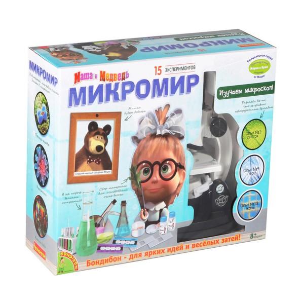 Купить Набор Bondibon Французские опыты Науки с Буки Маша и медведь - Микромир (15 экспериментов) в интернет магазине игрушек и детских товаров