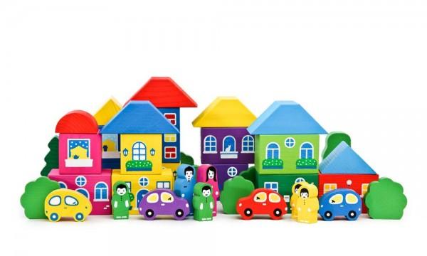 Купить Конструктор Томик Цветной городок большой - 41 деталь в интернет магазине игрушек и детских товаров