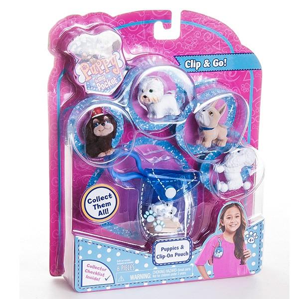 Игровой набор Puppy In My Pocket Брелок-сумочка с 5 щенками - голубая