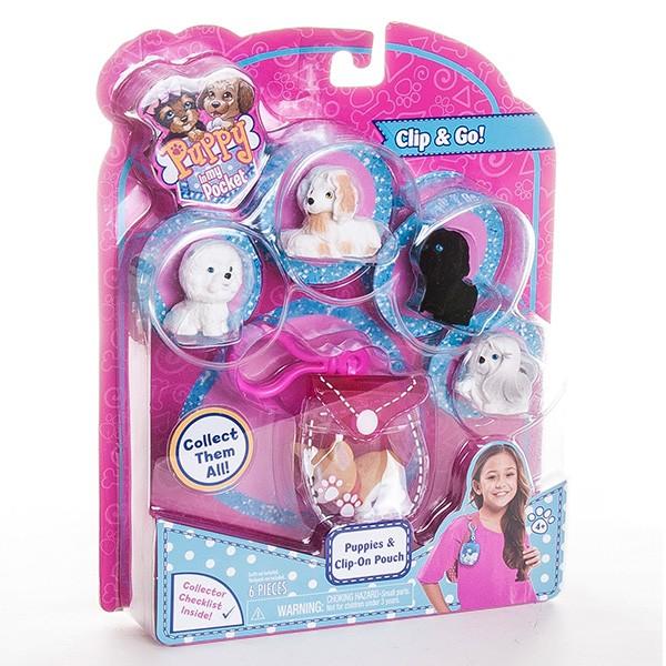 Игровой набор Puppy In My Pocket Брелок-сумочка с 5 щенками - розовая
