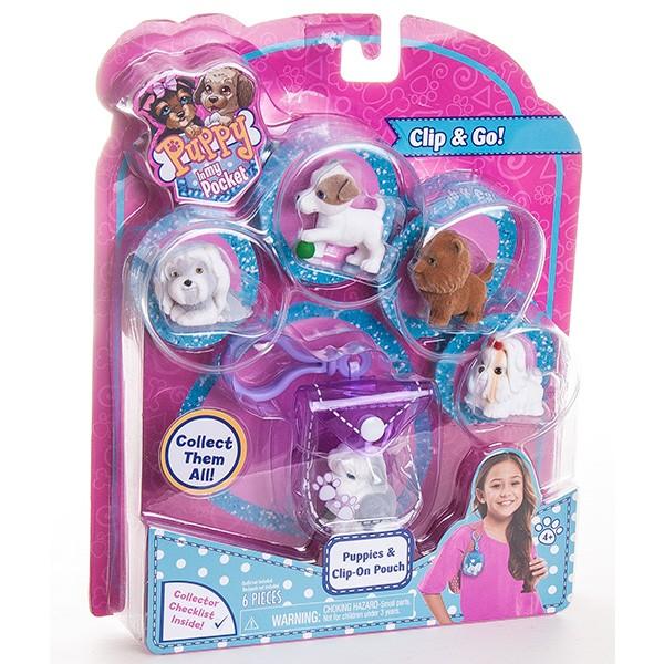 Игровой набор Puppy In My Pocket брелок-сумочка с 5 щенками - фиолетовая