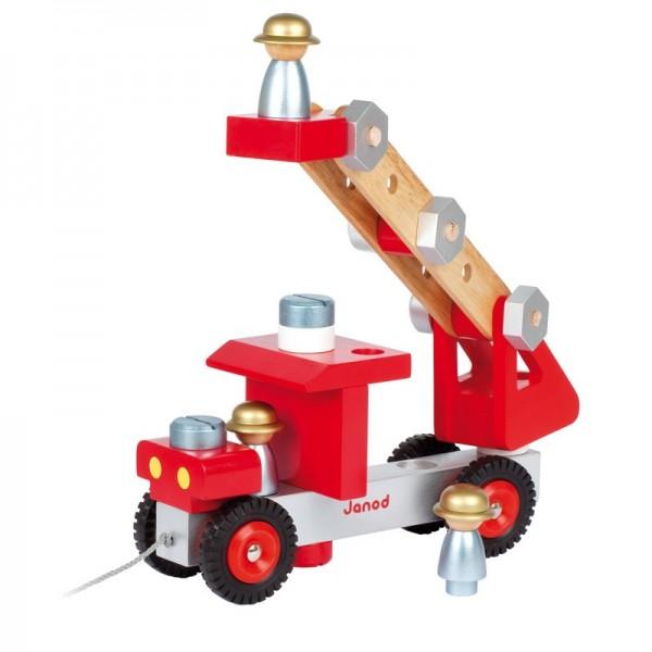 Купить Каталка конструктор Janod Пожарная машина в интернет магазине игрушек и детских товаров