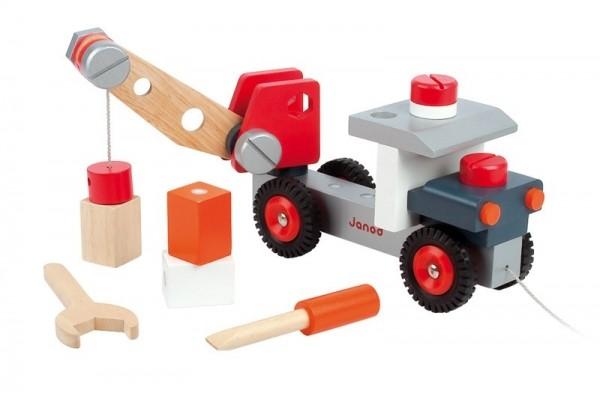 Купить Каталка конструктор Janod Грузовик с краном в интернет магазине игрушек и детских товаров