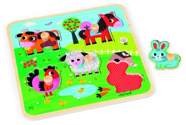 Купить Пазл для малышей Janod Счастливая ферма - 5 детелей в интернет магазине игрушек и детских товаров