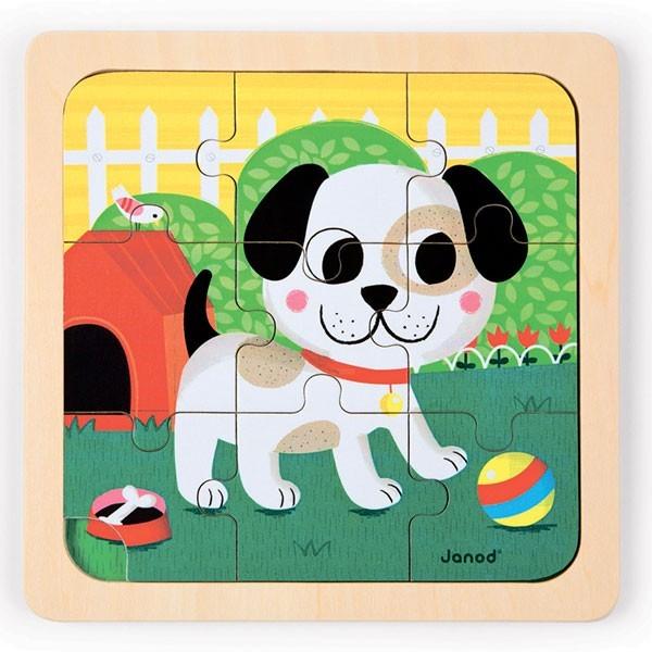 Купить Пазл для малышей Janod Песик Титус - 9 детелей в интернет магазине игрушек и детских товаров