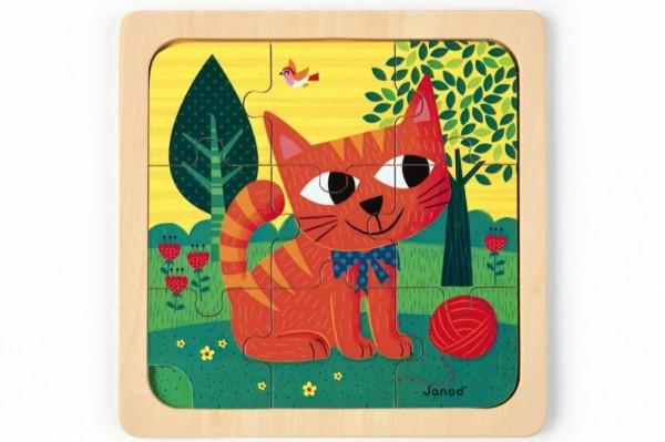 Купить Пазл для малышей Janod Кот Феликс - 9 деталей в интернет магазине игрушек и детских товаров