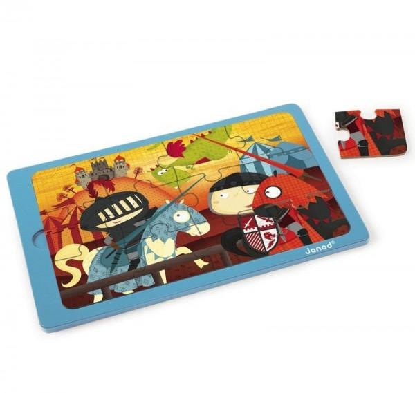 Купить Пазл для малышей Janod Поединок короля Артура - 12 детелей в интернет магазине игрушек и детских товаров