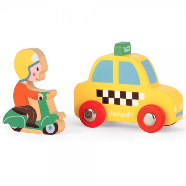 Игровой набор Janod Желтое такси с гонщиком