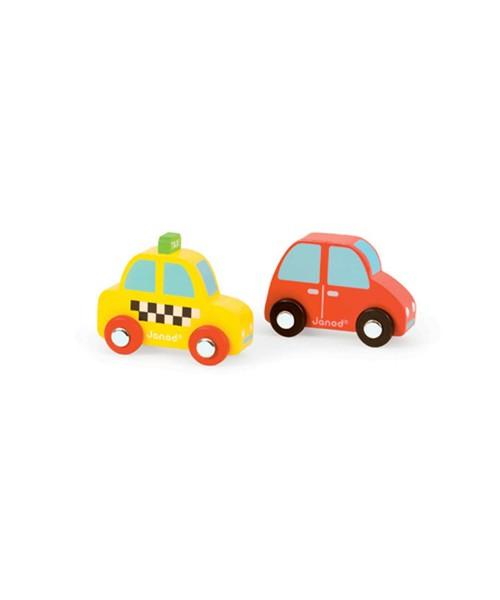 Игровой набор Janod Желтое такси и красный автомобиль