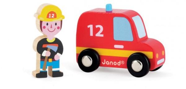 Игровой набор Janod Пожарная машина и пожарный