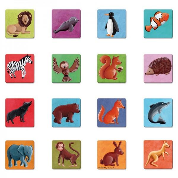Купить Развивающая игра на запоминание Janod Животный мир - 32 детали в интернет магазине игрушек и детских товаров