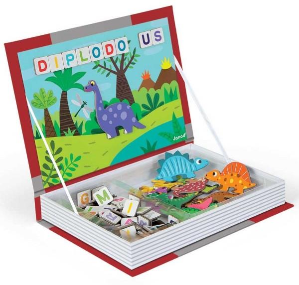 Магнитная книга-игра JANOD Динозавры с буквами