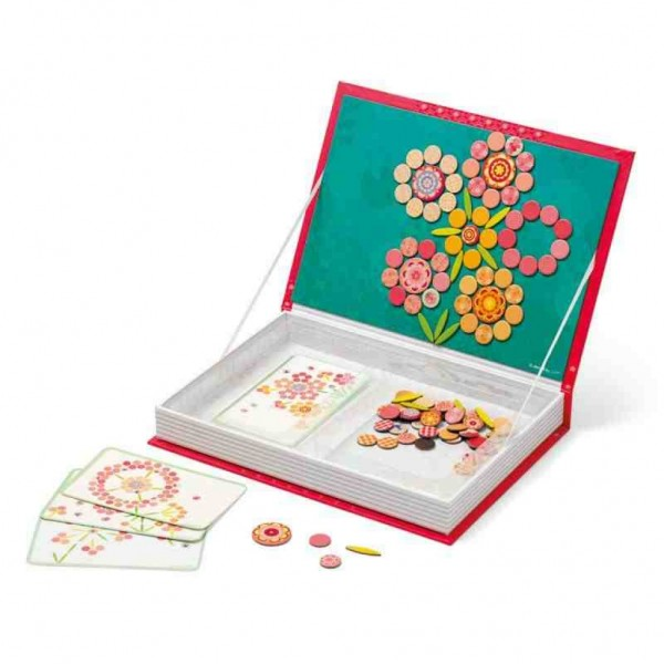 Большая магнитная книга-игра Janod Мозаика цветы
