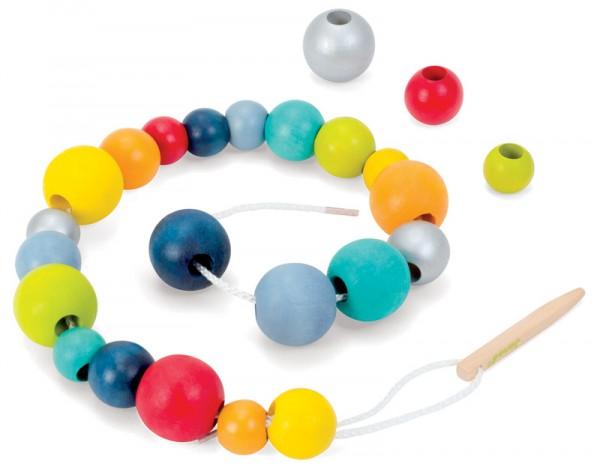 Купить Шнурок для нанизывания Janod Бусы - 24 детали в интернет магазине игрушек и детских товаров
