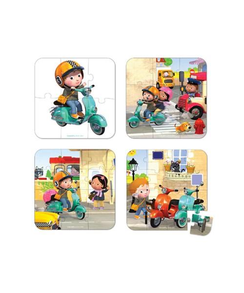 Пазл в чемоданчике 4 в 1 Janod J02869 Я на скутере