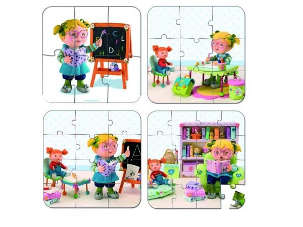 Купить Пазл в чемоданчике 4 в 1 Janod Я - учитель в интернет магазине игрушек и детских товаров