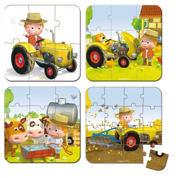 Купить Пазл в чемоданчике 4 в 1 Janod Я - тракторист в интернет магазине игрушек и детских товаров