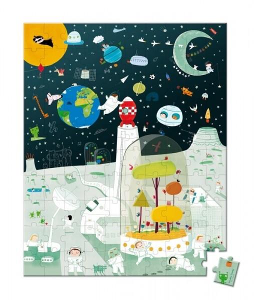 Купить Большой пазл в круглом чемоданчике Janod Космическая миссия - 100 детелей в интернет магазине игрушек и детских товаров