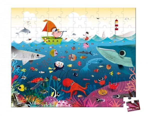 Купить Большой пазл в круглом чемоданчике Janod Подводный мир - 100 детелей в интернет магазине игрушек и детских товаров