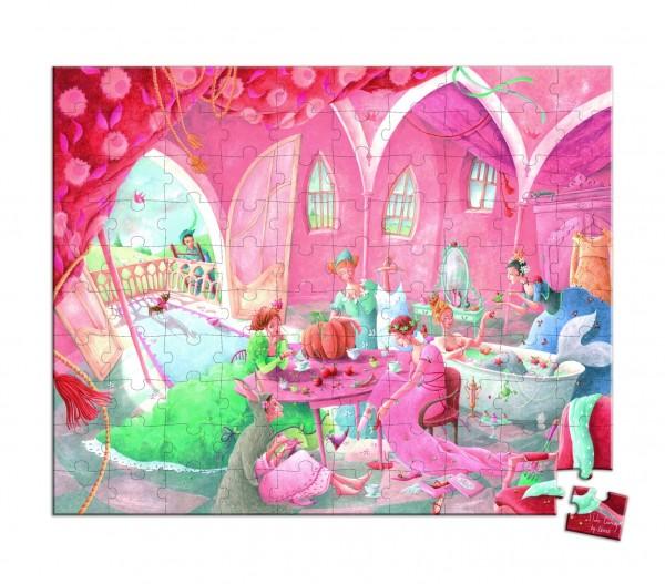 Купить Большой пазл в круглом чемоданчике Janod Тайны принцесс - 100 детелей в интернет магазине игрушек и детских товаров