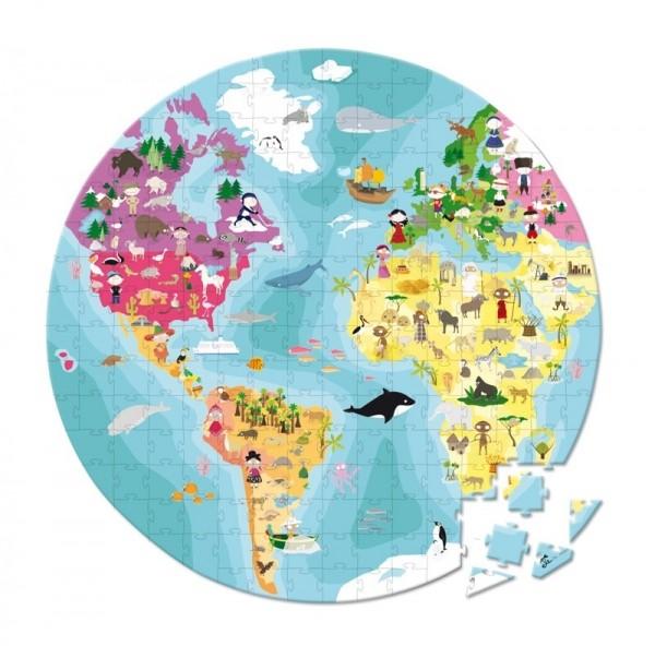 Купить Большой пазл в круглом чемоданчике Janod Пладаа - 208 детелей в интернет магазине игрушек и детских товаров