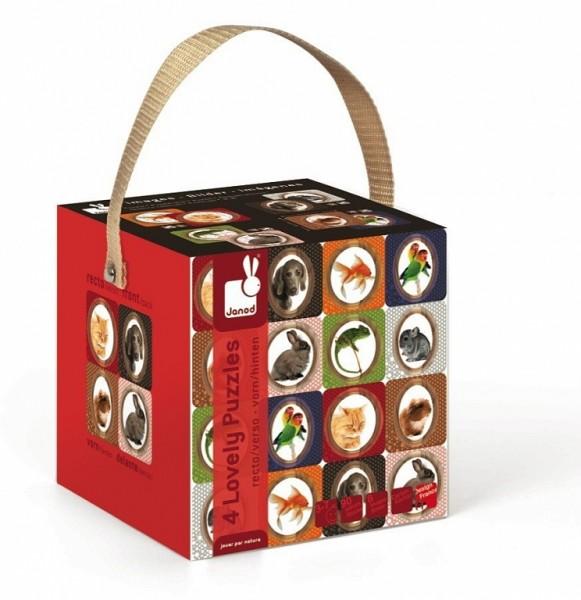 Купить Двухсторонний пазл в чемоданчике Janod Домашние питомцы в интернет магазине игрушек и детских товаров
