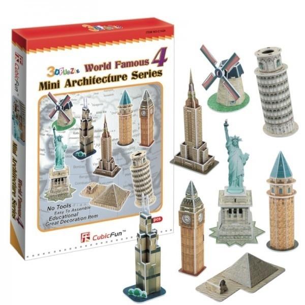 Купить Объемный 3D пазл CubicFun Набор архитектора №4 (8 в 1) в интернет магазине игрушек и детских товаров