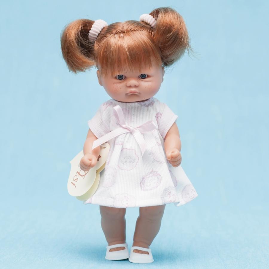 Кукла-пупс ASI - 20 см (в платье в бордовый цветочек с розовым бантиком)