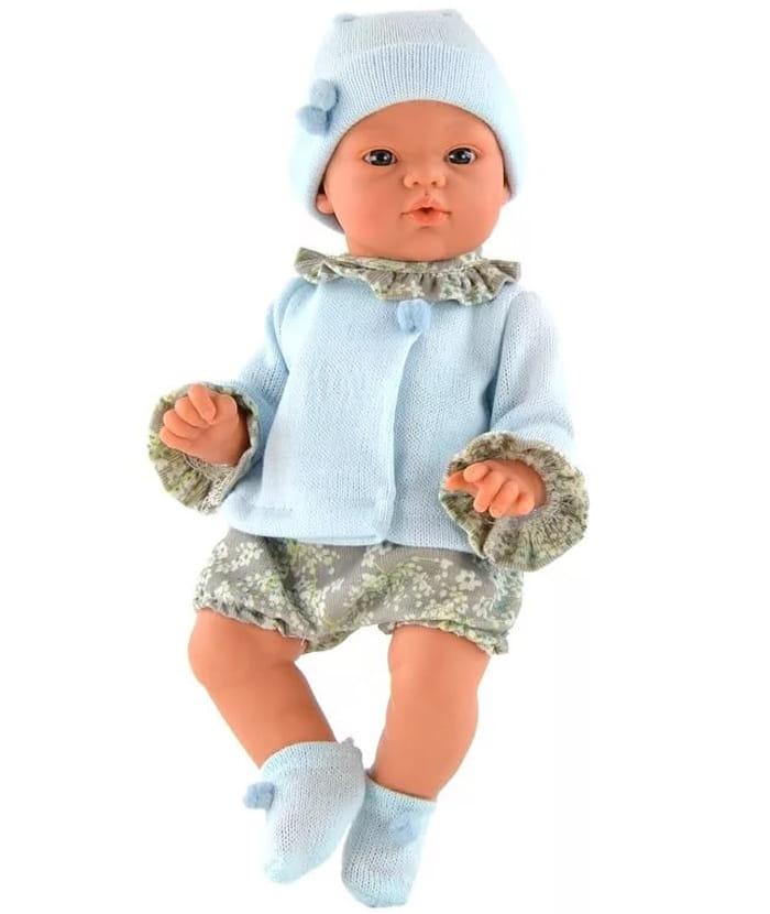 Кукла-пупс со звуком ASI Коки - 36 см (в серо-голубом костюмчике, с бутылочкой)