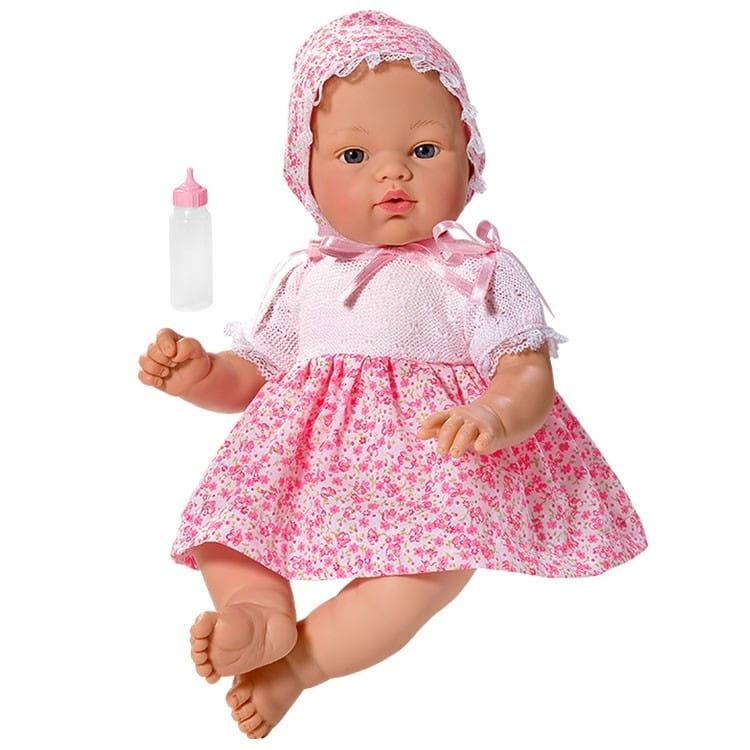 Кукла-пупс со звуком ASI Коки - 36 см (в розовом платье и чепчике, с бутылочкой)