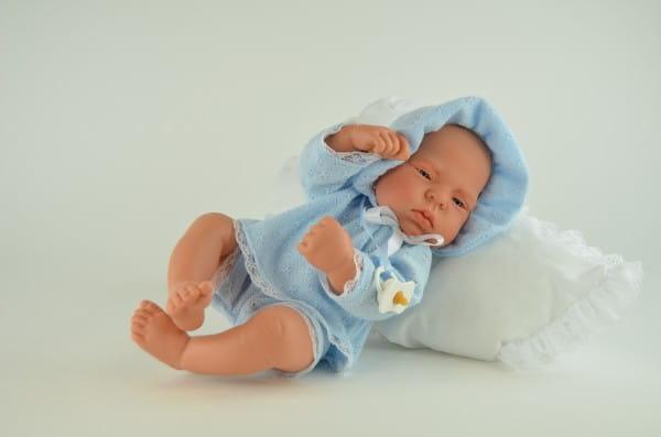 Кукла-пупс Asi Mama Ciguena Lulu - 40 см (в голубом комплекте и чепчике, с пустышкой)