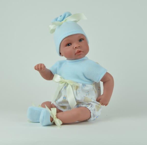 Кукла-пупс со звуком Asi 182930 Лео - 50 см (в голубом комбинезоне и шапке)