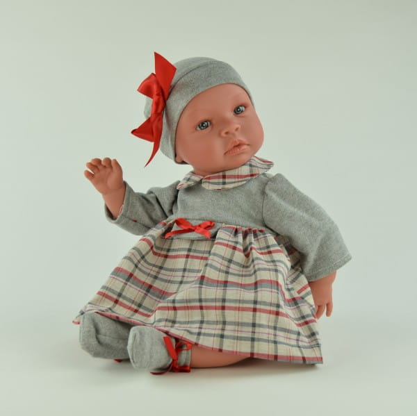 Кукла-пупс со звуком Asi Лео - 50 см (в сером платье в клетку и шапке)