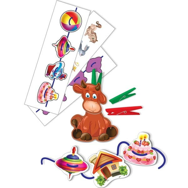 Купить Развивающая игра Vladi Toys Животные (с прищепками и шнурочками) в интернет магазине игрушек и детских товаров