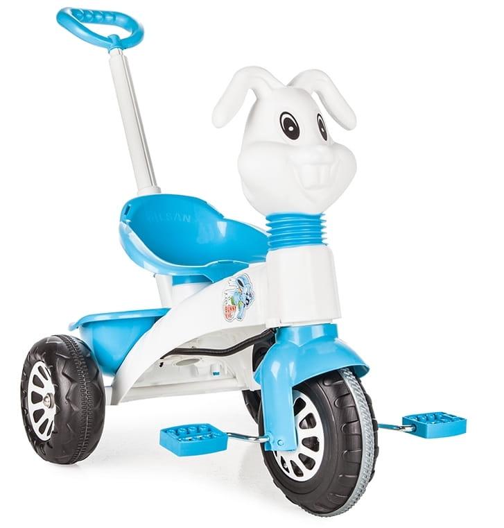 Детский трехколесный велосипед Pilsan 7162plsn Bunny с ручкой управления - голубой