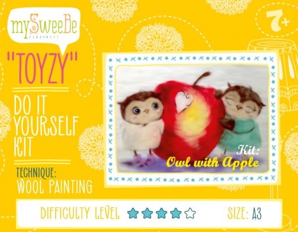 Набор для картин шерстью Toyzy TZ-P026 Совушки с яблоком