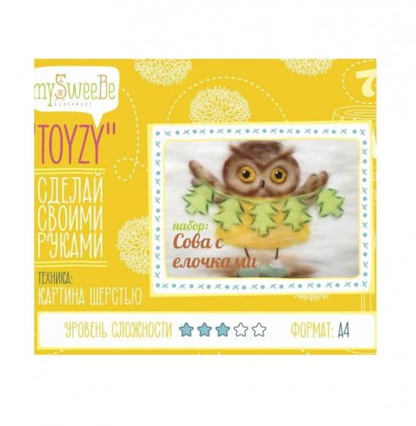 Набор для картин шерстью Toyzy TZ-P029 Сова с елочками