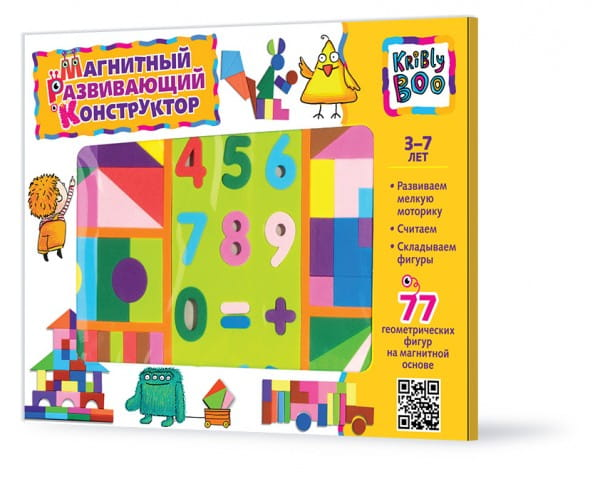Купить Магнитный конструктор Kribly Boo (77 деталей) в интернет магазине игрушек и детских товаров