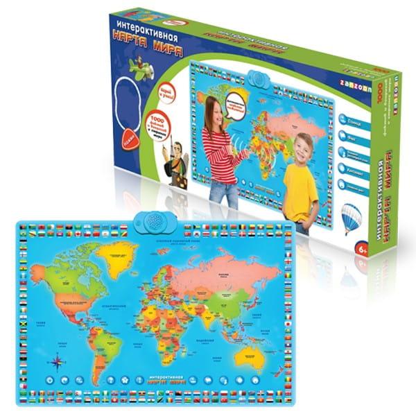 Купить Развивающий плакат ZanZoon Карта мира в интернет магазине игрушек и детских товаров