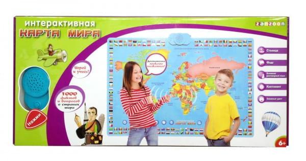 Купить Развивающий плакат ZanZoon Карта мира 2 в интернет магазине игрушек и детских товаров