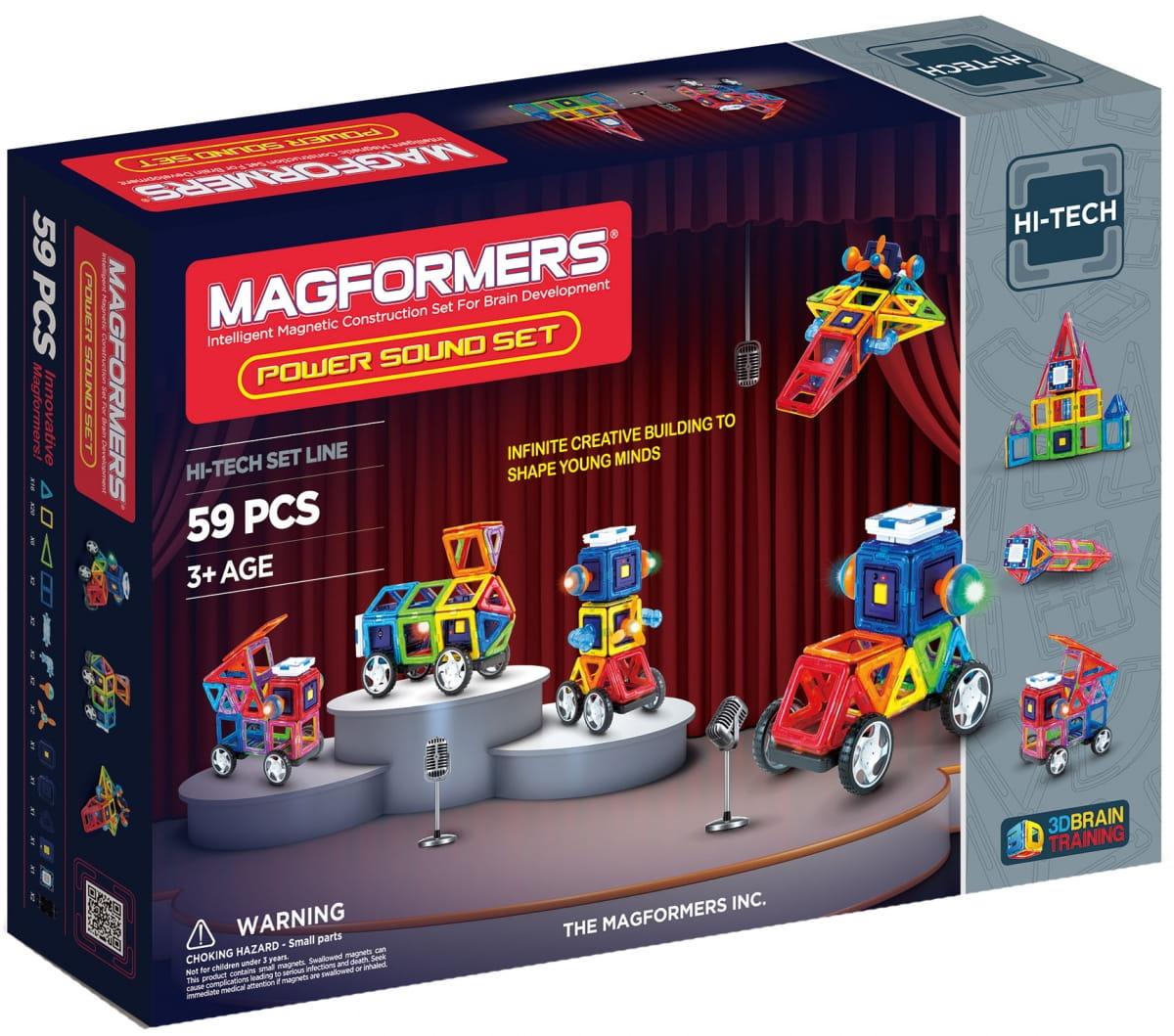 Магнитный конструктор Magformers 63115/709003 Power Sound Set (59 деталей)