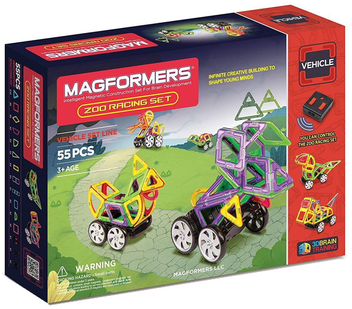 Магнитный конструктор Magformers 63142/707008 Zoo Racing Set (55 деталей)