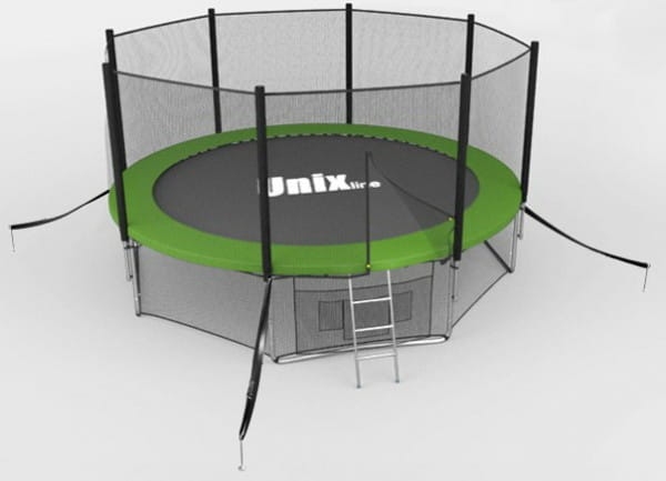 Купить Батут Unix с сеткой и лестницей 12 футов - 366 см (зеленый) в интернет магазине игрушек и детских товаров