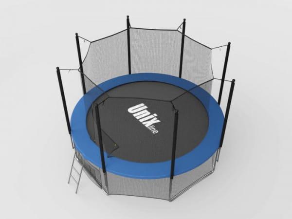 Купить Батут Unix с внутренней сеткой и лестницей 8 футов - 244 см (голубой) в интернет магазине игрушек и детских товаров