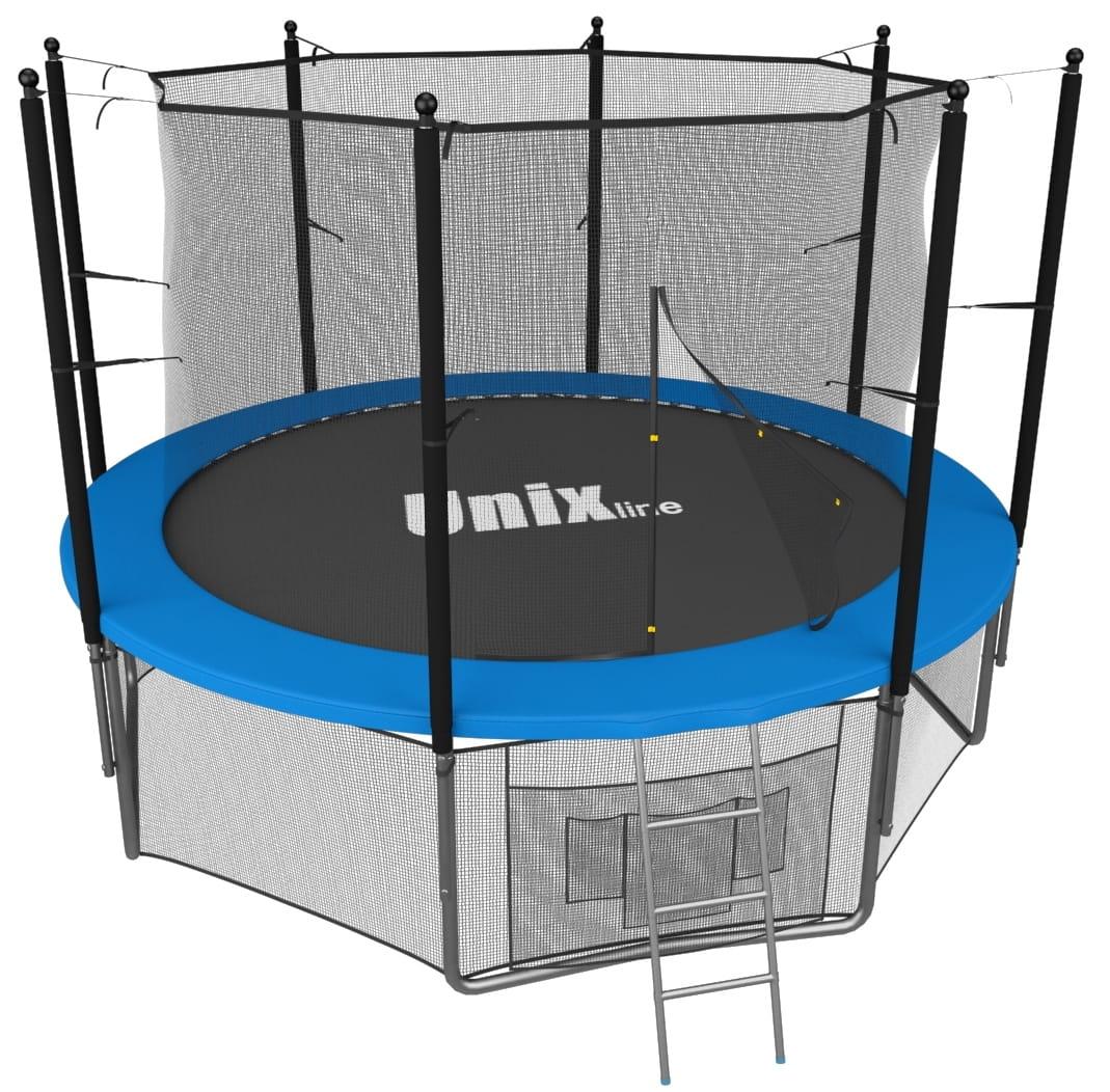 Батут UNIX с внутренней сеткой и лестницей 10 футов - 305 см (голубой)