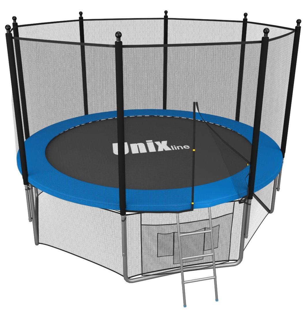 Батут Unix TRU12INBL с внутренней сеткой и лестницей 12 футов - 366 см (голубой)