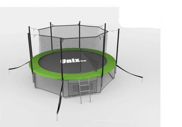 Батут Unix с внутренней сеткой и лестницей 6 футов - 183 см (зеленый)