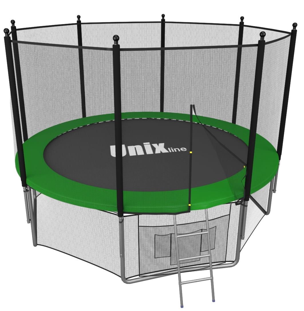 Батут Unix TRU6INGR с внутренней сеткой и лестницей 6 футов - 183 см (зеленый)