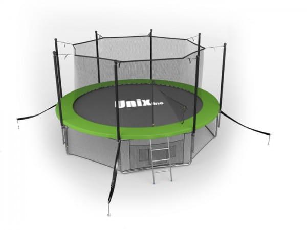 Батут Unix TRU10INGR с внутренней сеткой и лестницей 10 футов - 305 см (зеленый)